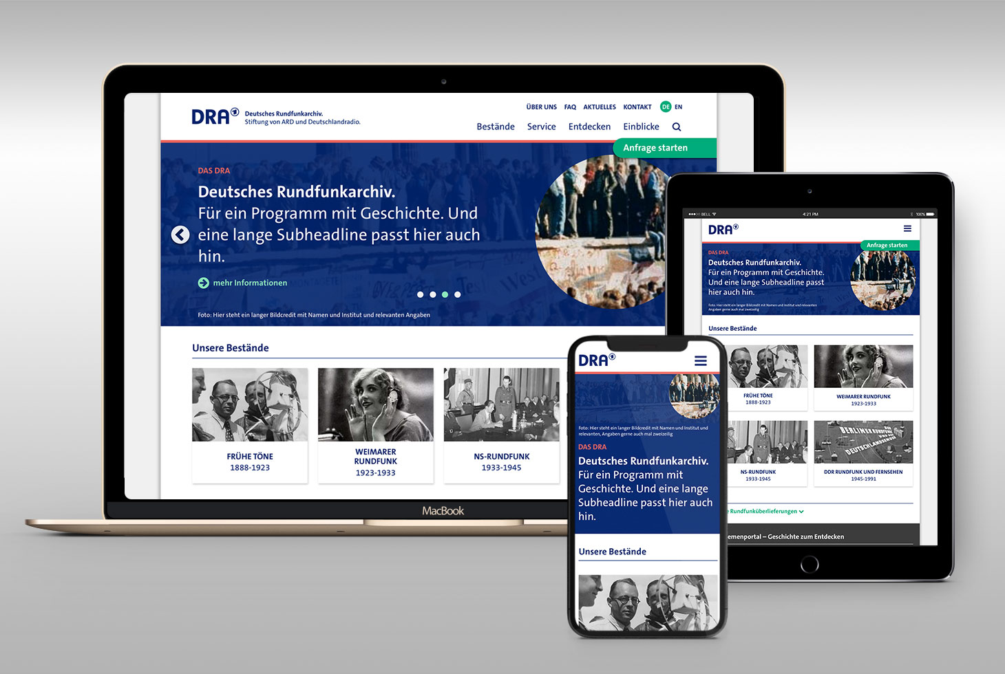 German Broadcasting Archive (DRA) – Corporate Design and Redesign of Website